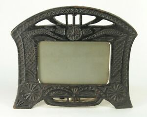 Antique Chip Carved Black Painted Wooden Picture Photo Frame
