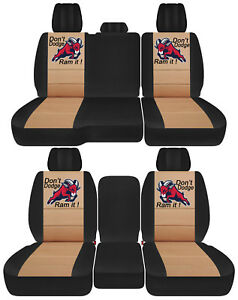 Front Back Car Seat Covers Blk Tan W Ram Fit 2011 2018dodge Ram 1500 2500 3500