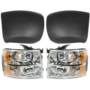 Headlight For 2007 2013 Chevrolet Silverado 1500 Front Lh And Rh Textured