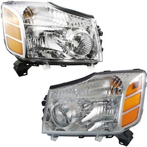Fits 2004 2015 Titan 04 07 Armada Replacement Headlights Pair Left Right 04 15