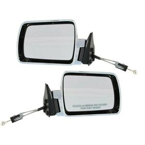 Manual Remote Mirror Set For 1984 1996 Jeep Cherokee Chrome Black Base