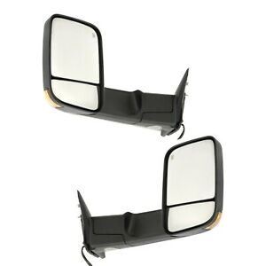 Tow Mirror Set For 2011 2012 Ram 1500 Left Right Side Power Heated Puddle