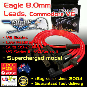Eagle Red 8mm Ignition Spark Plug Leads Fits V6 Commodore Vt Vy Supercharged