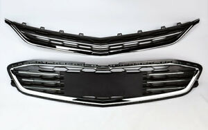 Honeycomb Mesh Chrome Front Bumper Upper Lower Grille For Chevy Malibu 16 18
