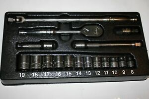 Snap on Tools 17pc 3 8 Drive Shallow 6 point Metric Starter Set Starterset5
