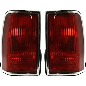 Set Of 2 Tail Light For 91 97 Lincoln Town Car Lh Rh Red Lens