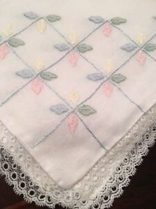 5 Vintage Madeira Linen Case Boudoir Baby Pillow Case Cover Hand Embroidered