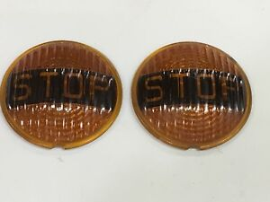 Nos Vintage Pair Arrow Amber Glass Stop Light Lens Car Motorcycle Old Truck 4