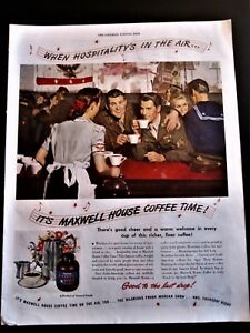 Soldiers and Sailors Served Coffee and Dance at USO  Maxwell Coffee WWII Ad