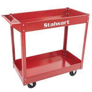 Metal Service Utility Cart Heavy Duty Supply Cart With Two Storage Tray Shelves