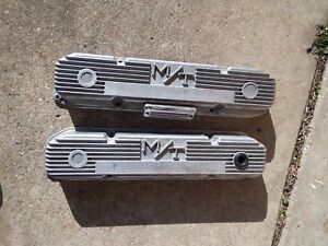 Mopar Mt Aluminum Valve Covers W Cal Custom Breather Big Block 383 400 440 M T