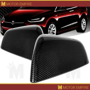 For 2016 2018 Tesla Model X Real Carbon Fiber Side Mirror Cover Overlay Trim Cap