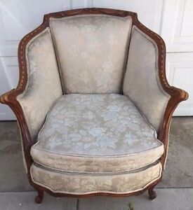 Antique French Bergere Louis Xv Style Walnut Carved Trim Upholstered Chair