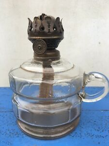 Antique Vintage Clear Pressed Glass Oil Lamp Base With Carry Handle