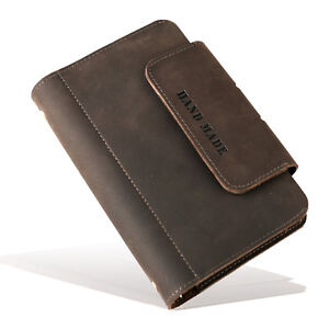 Personalized Genuine Leather Notebook Journal Refillable Writing Phone Cover A6