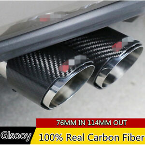 Carbon Fiber Glossy Car Exhaust Muffler Pipe Tips 76mm In 114mm Out Universal
