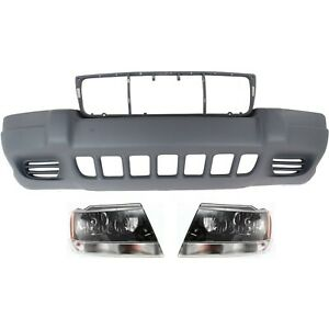 Bumper Cover Kit For 99 2003 Jeep Grand Cherokee For Models Without Fog Lights