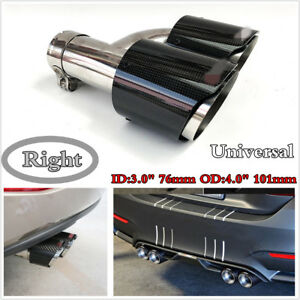 Right Side Carbon Fiber Exhaust Tip Dual Pipe Black Id 3 0 76mm Od 4 0 101mm