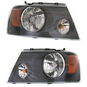 Headlight Set For 2007 2008 Ford F 150 Left And Right Gray Housing Capa 2pc