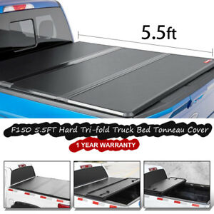 Hard Tri fold Truck Bed Cover Fit 2014 2018 Ford F150 5 5ft Tonneau Cover