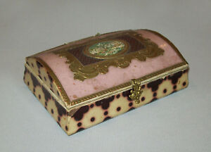 Old Antique Vtg 19th Century Painted Paper Dome Top Celluloid Pasteboard Box