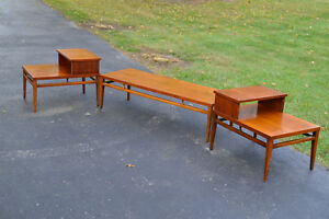 Vintage Mid Century Lane Tuxedo Bow Tie Coffee And End Tables