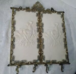 Antique Table Hanging Trifold Mirror Beveled Glass Ornate Victorian Style