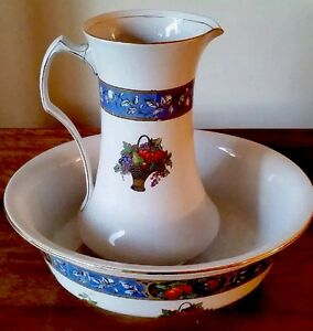 Antique Elegant Ironstone Washbowl Pitcher Matched Stamped England Makers Mark