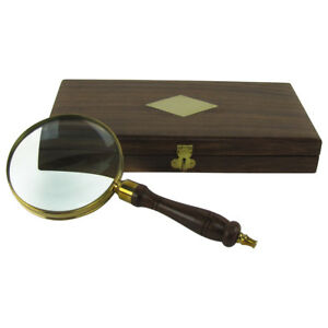 Antique Brass Wood Turned Hand Lens Magnifying Glass W Desktop Box 5x Magnifier