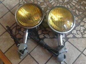 Pair Nos 6 Volt Vintage Fog Lamps Perfection Amber Sealed Early Auto Truck Light