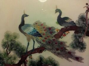 Vintage Chinese Silk Embroidery Panel Depicts 2 Peacocks In Pine Tree