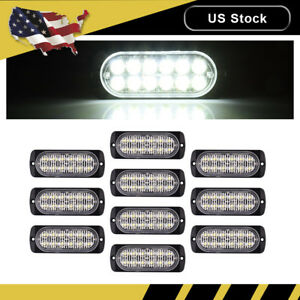 10x White Car 12 Led Emergency Strobe Light Kit Flash Warning Beacon Hazard