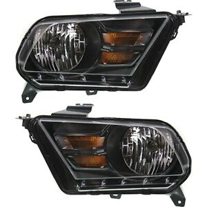 Headlight Set For 2010 2014 Ford Mustang Left And Right Black Housing Capa 2pc
