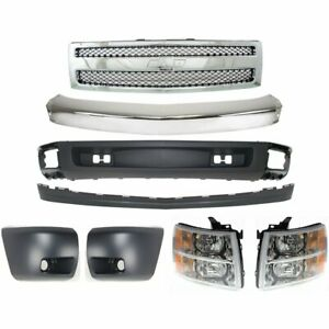 Bumper Kit For 2007 2008 Chevrolet Silverado 1500 Front Fits All Cab Types 8pc