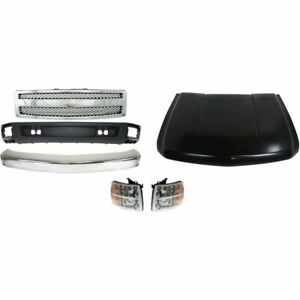 Bumper Kit For 2007 2008 Silverado 1500 Light Duty Front For All Body Types 6pc