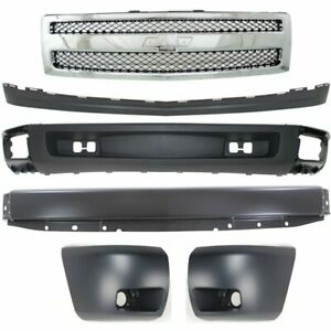 Bumper Kit For 2007 2008 Chevy Silverado 1500 Front With Painted Gray Bumper 6pc