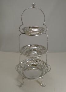 Antique English Silver Plated Graduated Cake Stand C 1900