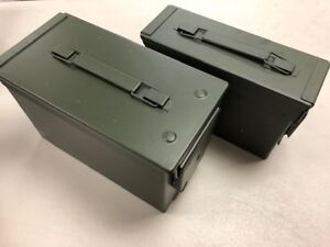 30 and 50 Cal Metal Gun Ammo Can 2-Pack – Steel Box Storage ***PAINT DEFECTS