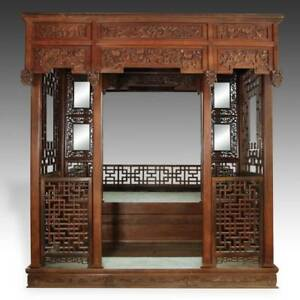 Rare Antique Chinese Wedding Bed Carved Rosewood Mirror Furniture China 19th C