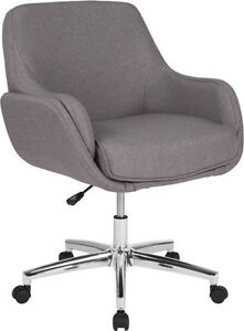 Rochelle Home And Office Upholstered Mid back Chair In Light Gray Fabric