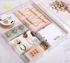 Pink Series Notebook Set Memo Pad Clips Pencil Bookmark Office Accessories Books