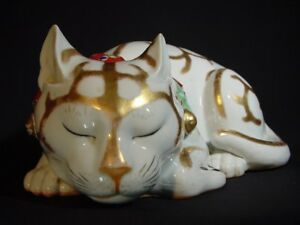 Antique Kutani Sleeping Cat Japanese Life Size Moriage Heavy Porcelain