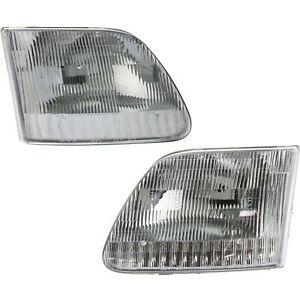 Headlight Set For 1997 2003 Ford F 150 97 2002 Expedition Left Right Capa 2pc