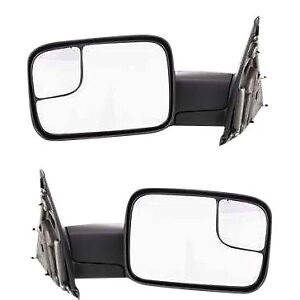 Tow Mirror Set For 02 09 Dodge Ram 1500 Left Right Side Manual Fold Blind Spot