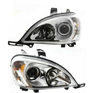 Halogen Headlight Set For 2003 2005 Mercedes Benz Ml350 W Bulb s Pair