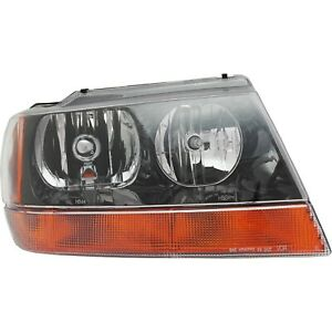 Headlight For 99 2004 Jeep Grand Cherokee Laredo Sport Right Black Housing