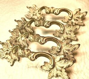 Keeler Brass Vintage French Provincial 4 Large Drawer Pulls Solid Brass Extras