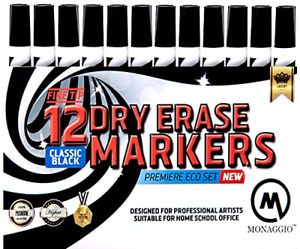 Black Dry Erase Fine Point Chisel Tip Thin White Board Marker Pens Low Odor For