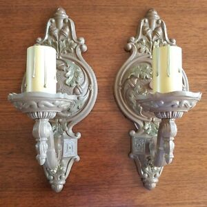 Pair Of Art Deco Vintage 1 Light Oak Acorn Motif Sconces Ready To Use