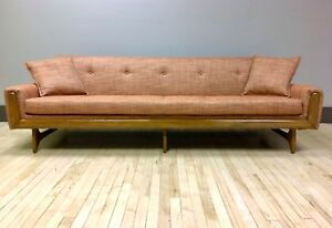 1960s Pearsall Style Sofa Reupholstered W Knoll Fabric Mid Century Modern Mcm